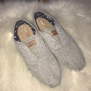 Toms gray slip on felt shoes size ladies 9